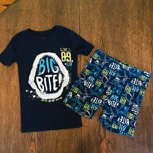 4/$30 Children's Place Sz 8 Summer Shark Pajamas